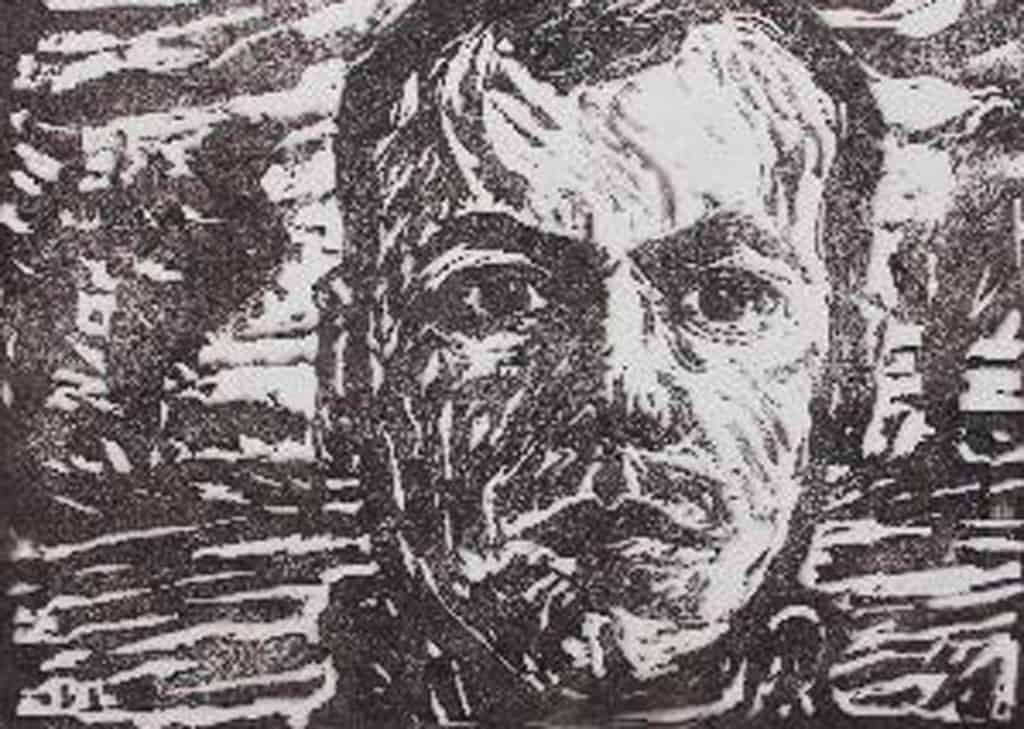 Selbstporträt, Holzschnitt, 1911- Edition Rieger